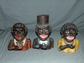 (3) Cast Iron Black Americana Coin Banks