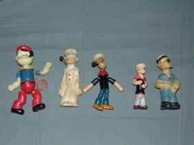 Vintage 5 Piece Popeye Figure Lot