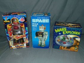 3 Boxed Battery Operated Space Toys