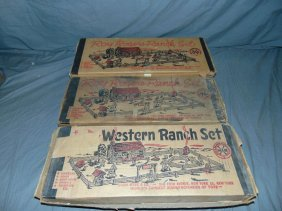 Lot Of 3 Boxed, Marx Playsets Incl Roy Rogers