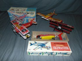 Lot Of Tin Lithograph Toy Airplanes