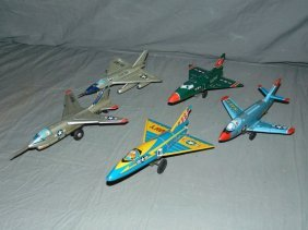 5 Tin Lithographed Friction Toy Airplanes