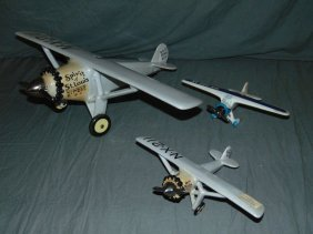 (3) Hand Painted Porcelain Decanter Airplanes