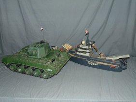C1960s Battery Op Large Plastic Tank & Battleship
