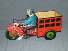 Marx Tin Lithographed Speed Boy Delivery Wagon