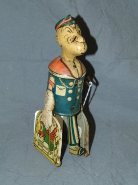 Popeye Carrying Birds Tin Wind Up