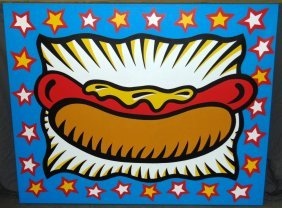 Burton Morris Oil On Canvas, Hot Dog With Mustard