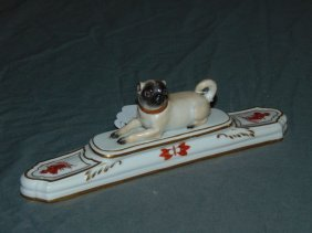 Meissen Porcelain Paperweight With Pug Dog