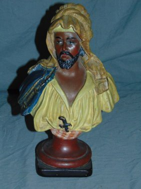 Wood Carved Austrian Polychrome Bust