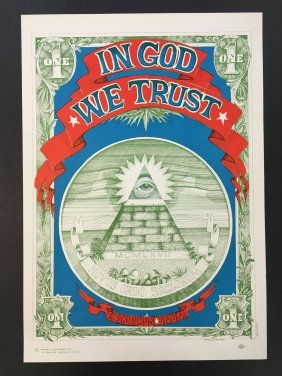 1967 Rick Griffin Head Shop Poster In God We Trust
