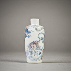 A Porcelain Snuff Bottle Of Rolwagen Form