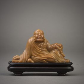 A Chinese Soapstone Rohan Sculpture