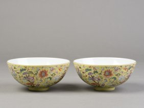 A Pair Of Porcelain Bowls Of Yellow Ground