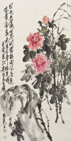 A Chinese Scroll Painting Of Floral Motif, After Wu