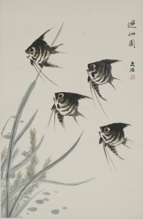 A Chinese Painting Of Fish Motif, After Song Wenzhi
