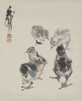A Chinese Painting Of Chicken Motif, After Huang Zhou