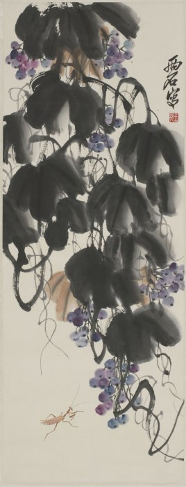 A Chinese Scroll Painting Of Vine Grape Motif, After