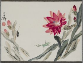 A Chinese Scroll Painting Of Floral Motif, After Wang