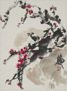 A Chinese Scroll Painting Of Plum Motif, After Zhang