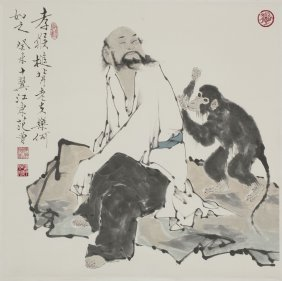 A Chinese Scroll Painting Of Figural Motif, After Fan
