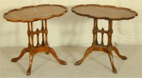 PR BURLED MAHOGANY SIDE TABLES W/SHAPED