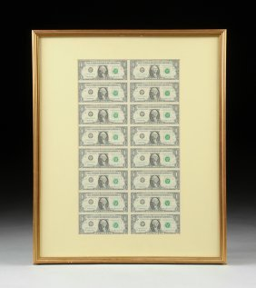 A Framed Sheet Of Sixteen Uncut American $1 Notes,