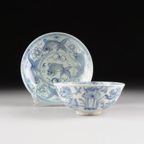 Two Vietnamese/annamese Blue And White Glazed Stoneware