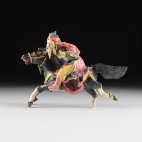 A Chinese Polychrome Painted Ceramic Equestrian