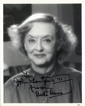 "A Bette Davis Autographed And Inscribed 8"" X 10"" Black"