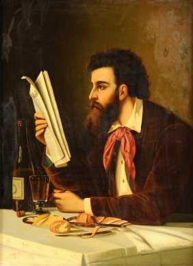 "C. Baier (19th Century) A Painting, ""man Reading"