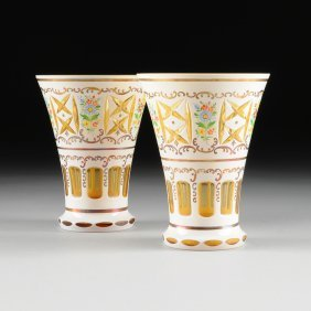 A Pair Of Bohemian Yellow And Milk Glass Overlay Vases,