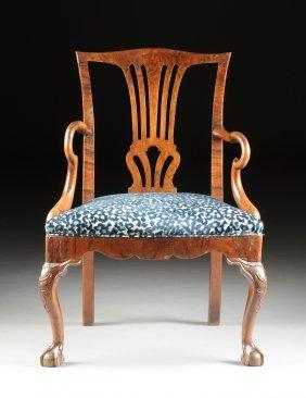 A Dutch George Iii Walnut And Mahogany Open Armchair,