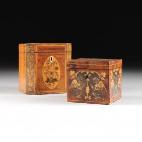 Two Antique Exotic Woods Inlaid Marquetry Tea Caddies,