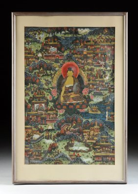 A Tibetan Polychrome Painted Thangka, Possibly