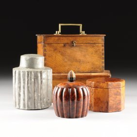A Miscellaneous Group Of Five Tea Caddies And Boxes,