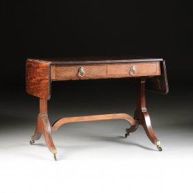 A Federal Mahogany Sofa Table, Early 19th Century,