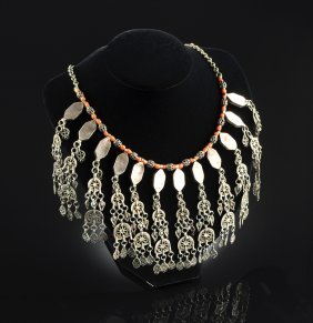 An Ornate Jewish Yemenite Coral Choker Lady's Necklace,