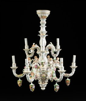A Dresden Style Porcelain Rococo Two Tier Chandelier In