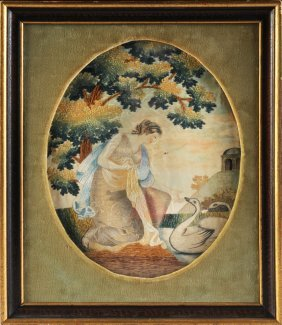 An American Silk Needlework And Painted Silk Panel Of A