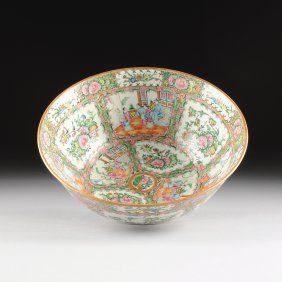 A Chinese Export Rose Medallion Porcelain Punch Bowl,