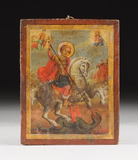 An Antique Greek Polychrome Tempura Painted Wood Icon