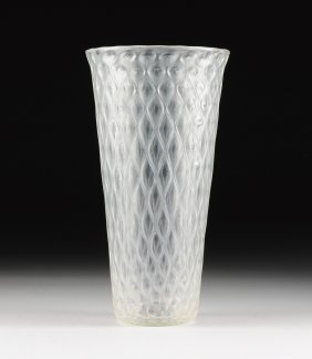 A Large Vintage Quilted Glass Vase, Possibly Italian,