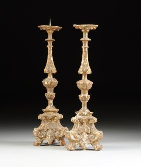 A Pair Of Italian Baroque Parcel Gilt And Silver Leafed