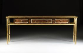 A Contemporary American Brass And Burled Walnut Console