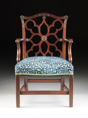 A George Iii Style Carved Mahogany Open Armchair, 19th