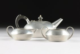 A Three Piece Vintage English Pewter Tea Set, By