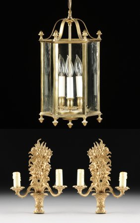 A Pair Of Victorian Style Gilt Brass Two-light Wall