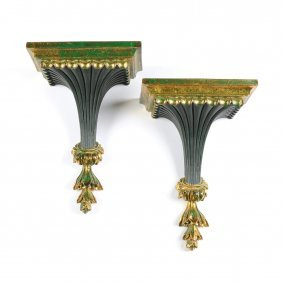 A Pair Of Regency Style Parcel Gilt And Dark Green