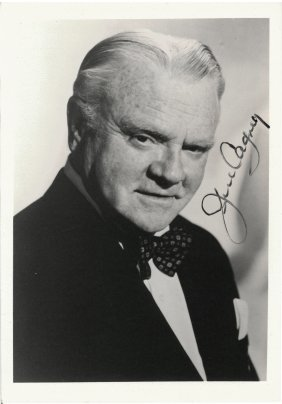 Two James Cagney Autographed Black And White