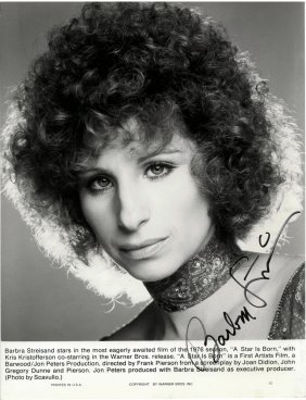 A Barbra Streisand Autographed Black And White